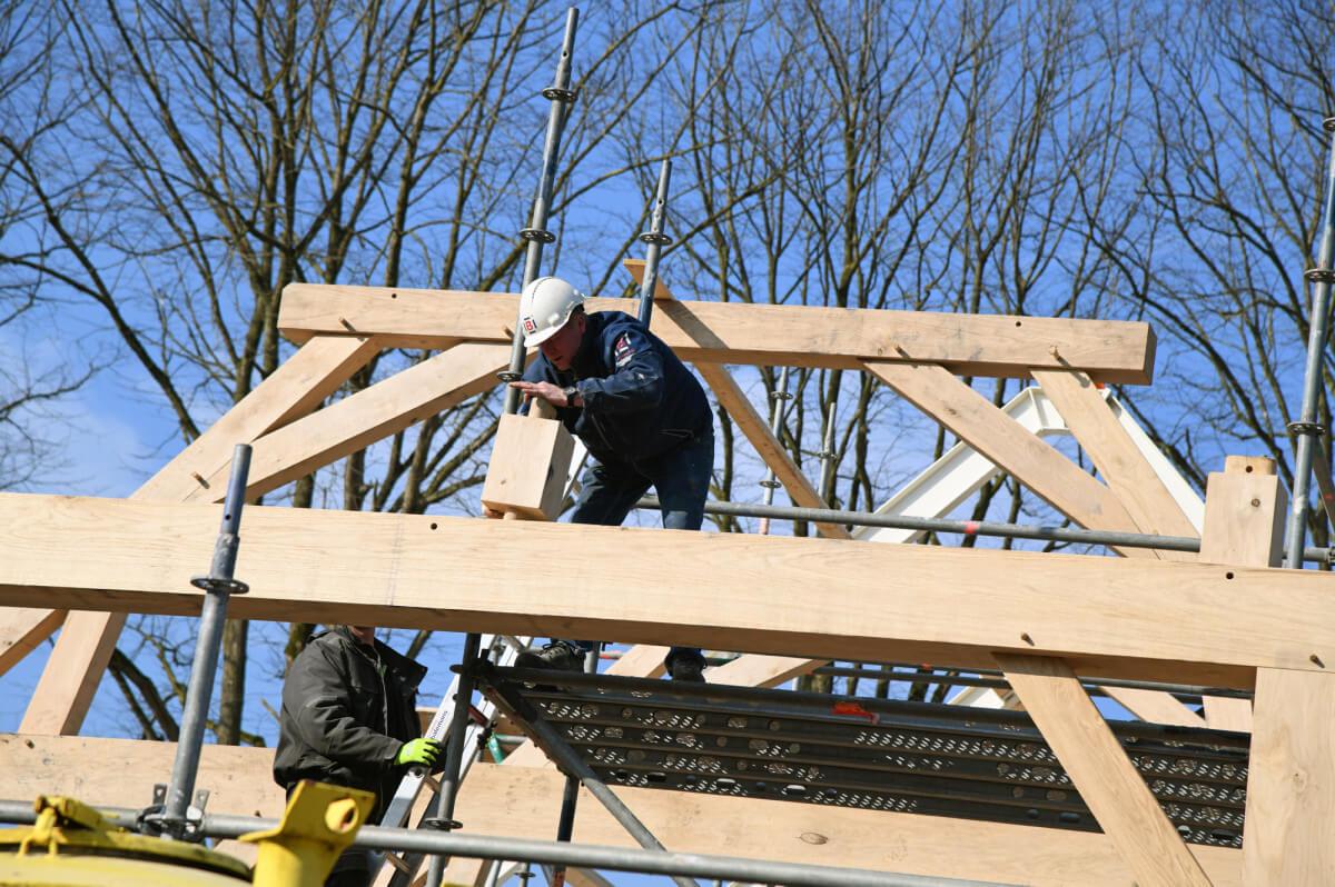 Fotoserie bouw Vlaamse schuur bij Landgoed Nuwenhuys